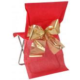Housses de chaise (x4) avec nœud métallisé rouge / or