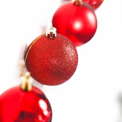 Boite de boules de Noël (x6) rouge