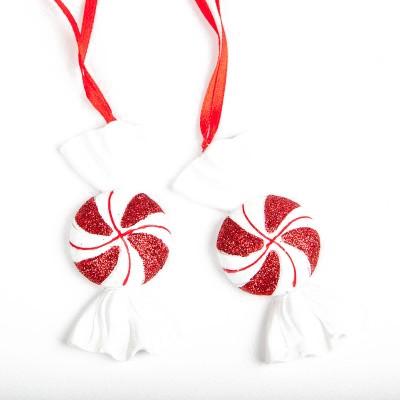 Bonbons déco à suspendre blanc rouge ( x2)