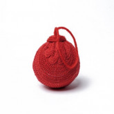 Boule déco en laine rouge