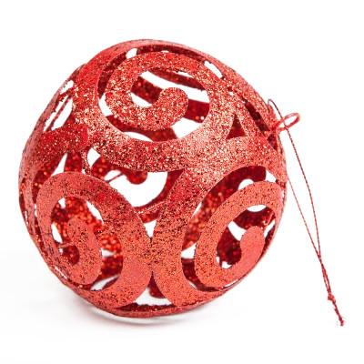 Boule déco pailletée rouge et ses arabesques
