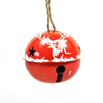 Grand grelot rouge de Noël motif cerf