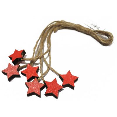 Mini étoiles en bois avec ficelle en jute (x6) Rouge
