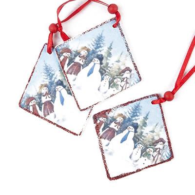 Suspensions paysage de Noël (x3) rouge
