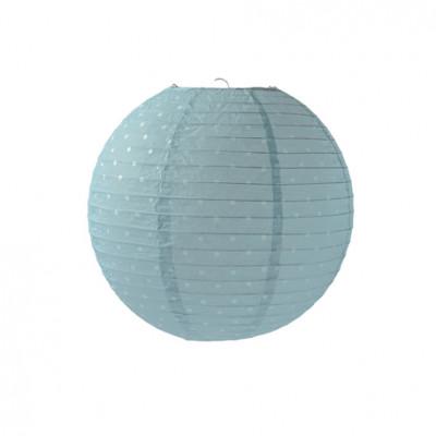 Lampion boule déco bleu à pois