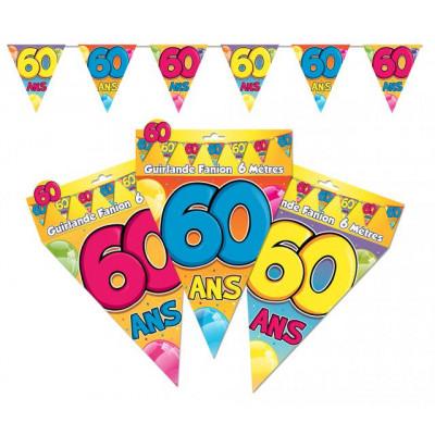 Guirlande fanions 60 ans multicolore