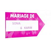 Flèche signalétique de couleur MARIAGE DE fuchsia / blanc