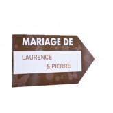 Flèche signalétique de couleur MARIAGE DE chocolat / blanc