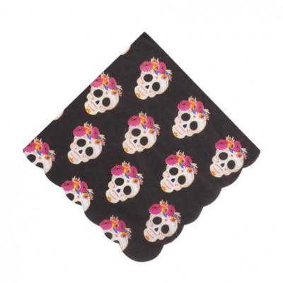Gobelets noirs Calaveras x8