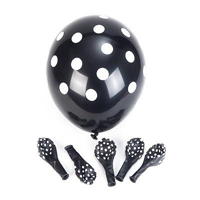 Ballons noirs à pois blancs (x6)