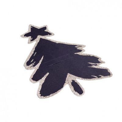 Porte couverts sapin noir mat pailletés x8