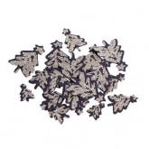 confettis sapin noir mat pailletés x100