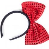 Serre-tête avec nœud pailleté rouge