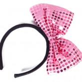 Serre-tête avec nœud pailleté rose