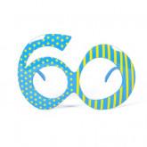 Lunettes rayures et pois âge 60 turquoise et jaune