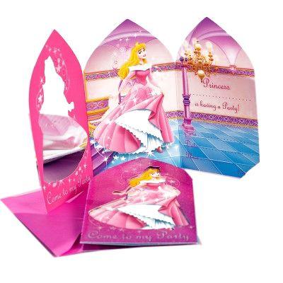 Invitations et enveloppes Princesses (x6) rose