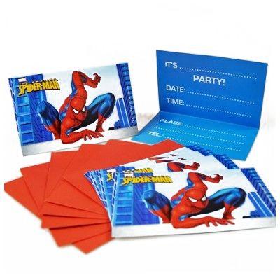 Cartons d'invitations Spiderman (x6)