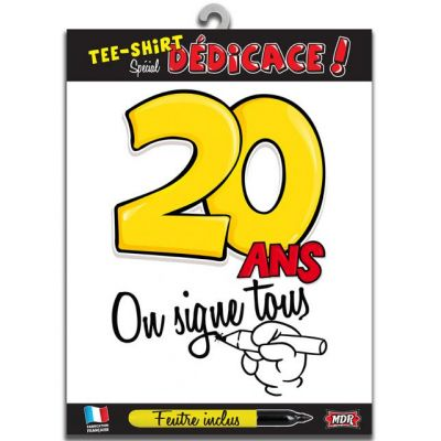 Tee-shirt anniversaire à signer 20 ans type