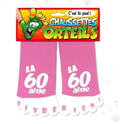 "Chaussettes orteils ""60 aine"" rose"