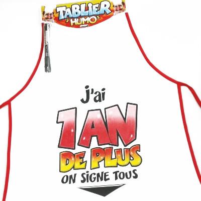 Tablier à signer & stylo : «1an de + »
