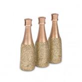 Marque-places bouteille de champagne or x3