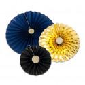 Rosaces papier bleu or et noir
