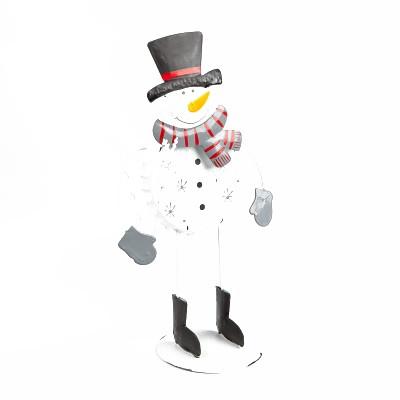 Grand Bonhomme de neige rigolo en métal