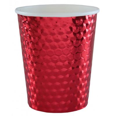Gobelet martelé métallisé rouge x10