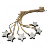 Mini étoiles en bois avec ficelle en jute (x6) Argent