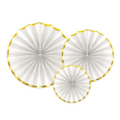 3 rosaces en papier blanc et or