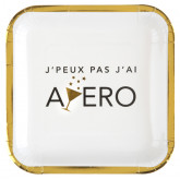 Assiettes apéro blanc et or x10