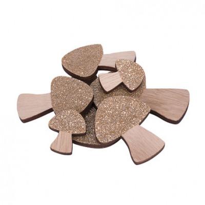 Champignons paillettes cuivre bois x12