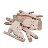 Assortiment gants, patins bois cuivre x12