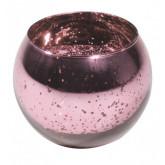 Bougeoir boule en verre mercurisé rose gold