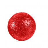 Grosses boules pailletées sur tiges (x6) rouge