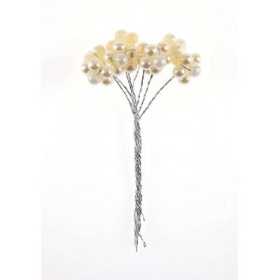Piquets perles ivoire (x16)