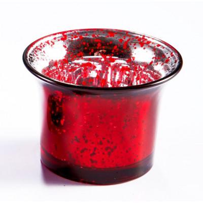 Photophore verre mercurisé rouge