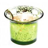 Photophore verre mercurisé vert anis