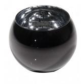 Bougeoir boule en verre mercurisé noir