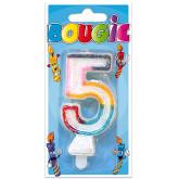 Bougie 5 ans multicolore