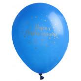 Ballon Joyeux Anniversaire bleu (x8)