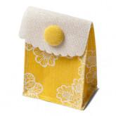 Pochettes en lin jaune x4