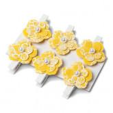 Pinces fleurs en lin jaune x6