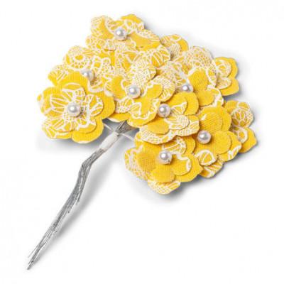 Fleurs sur tige en lin jaune x12