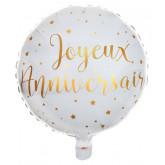 Ballon joyeux anniversaire métallisé