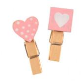 Pinces coeur rose carré et plumetis x6