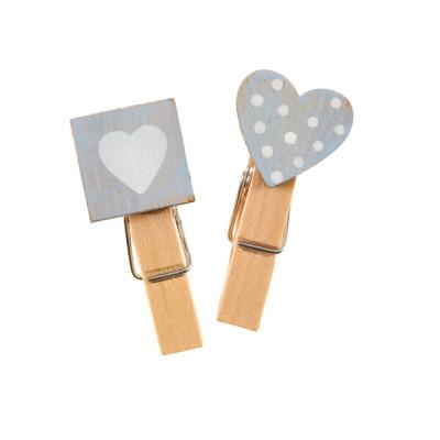 Pinces coeur gris carré et plumetis x6