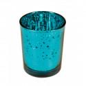 Bougeoir turquoise métal