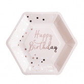 Assiette Happy Birthday rose gold x8