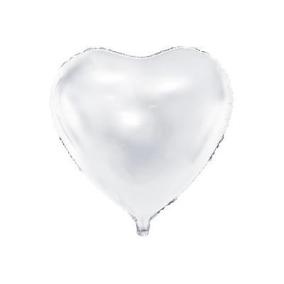 Ballon métallique coeur blanc